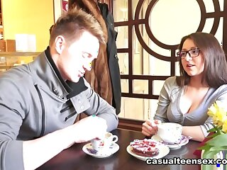 Brian & Inna upon Cumshot Put over Her Spyglass - CasualTeenSex
